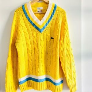 Vintage Lacoste Sweater Yellow and Blue